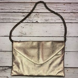 J Crew Gold Pebbled Leather Evening Bag